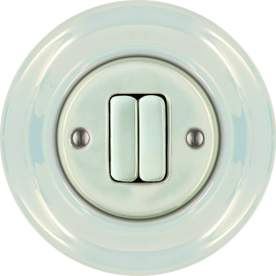 Porcelain switches - 2 gang ()  - CONCHA | Katy Paty