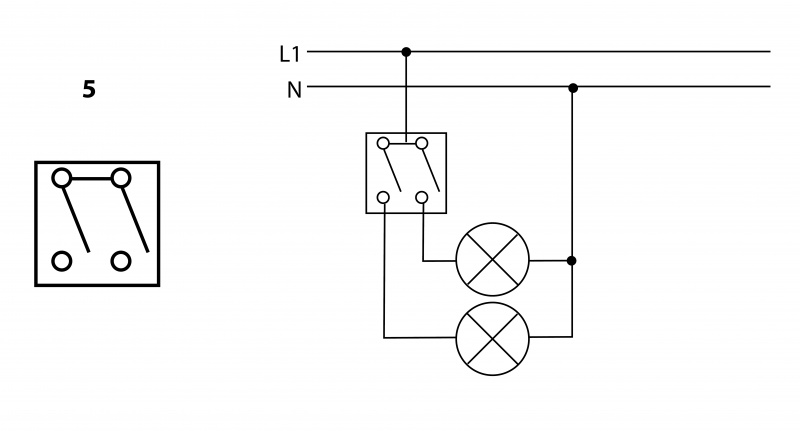 Arrangement 5 - Serial switch - 2 circuit switching from 1 place | Katy Paty